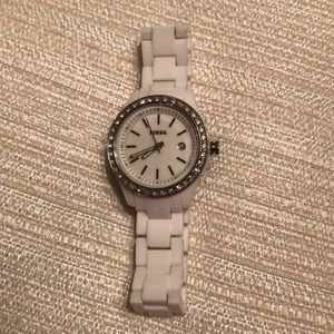 White Fossil Acetate watch. 30mm. Like new.